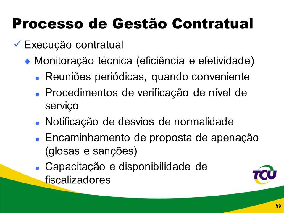 89 Processo de Gestão Contratual Execução contratual Monitoração técnica (eficiência e efetividade) Reuniões periódicas, quando conveniente Procedimen