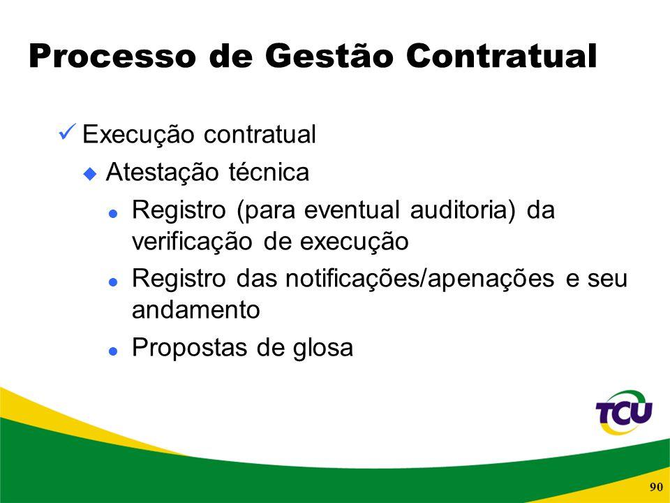 90 Processo de Gestão Contratual Execução contratual Atestação técnica Registro (para eventual auditoria) da verificação de execução Registro das noti