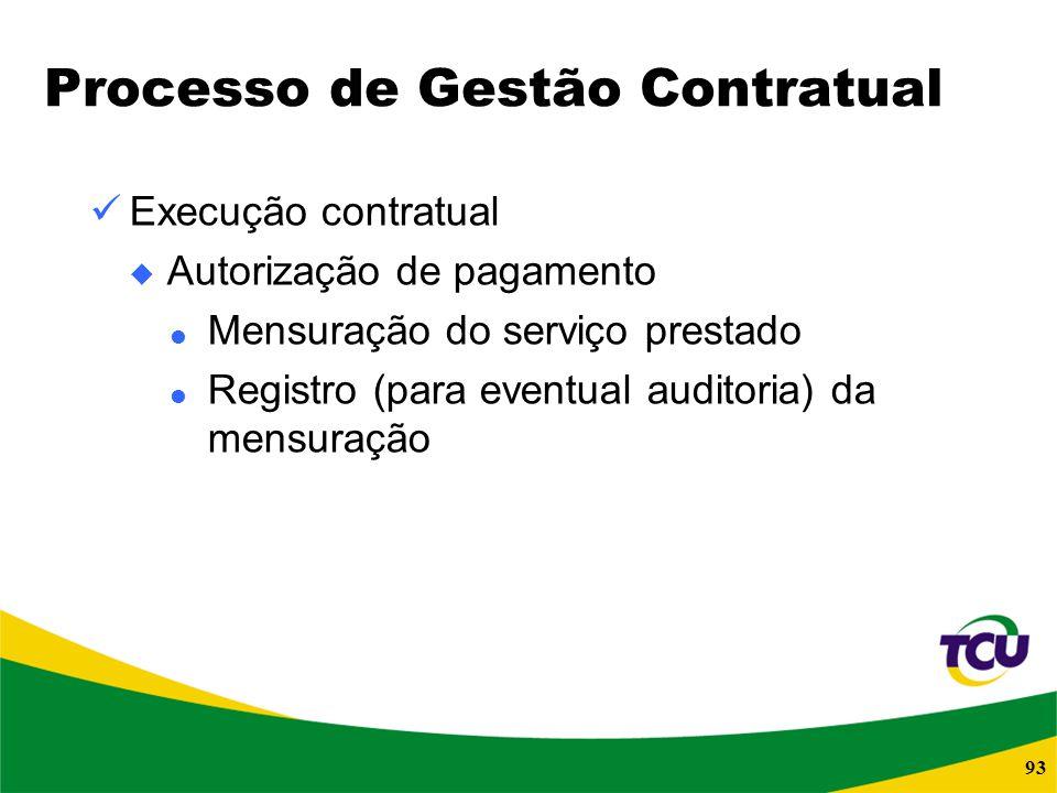 93 Processo de Gestão Contratual Execução contratual Autorização de pagamento Mensuração do serviço prestado Registro (para eventual auditoria) da men