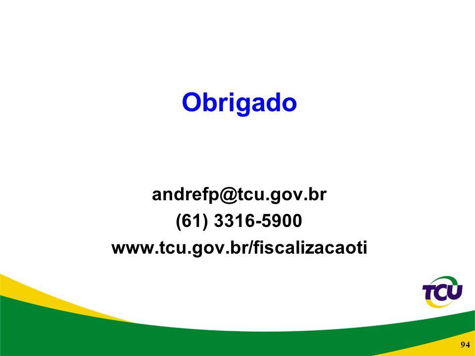 94 Obrigado andrefp@tcu.gov.br (61) 3316-5900 www.tcu.gov.br/fiscalizacaoti