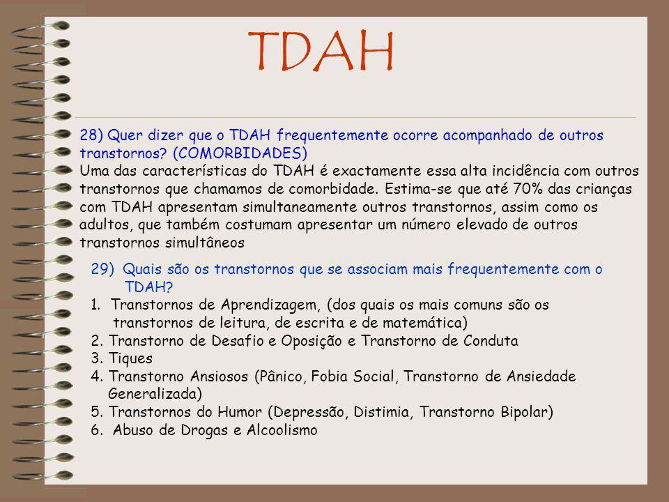 TDAH 28) Quer dizer que o TDAH frequentemente ocorre acompanhado de outros transtornos.