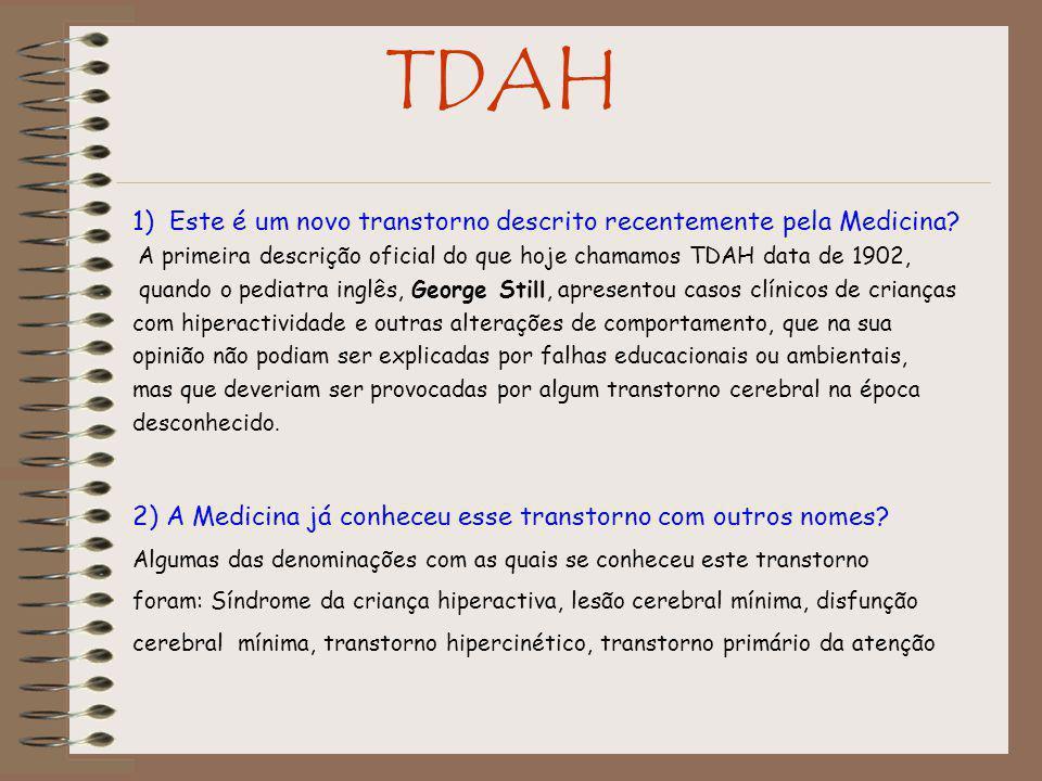 TDAH 1) Este é um novo transtorno descrito recentemente pela Medicina.
