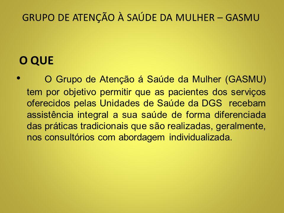 GRUPO DE ATENÇÃO À SAÚDE DA MULHER – GASMU QUEM ESPECIALIDADES ENVOLVIDAS Serviço Social Ginecologia Demais especialidades, conforme as necessidades do Projeto.