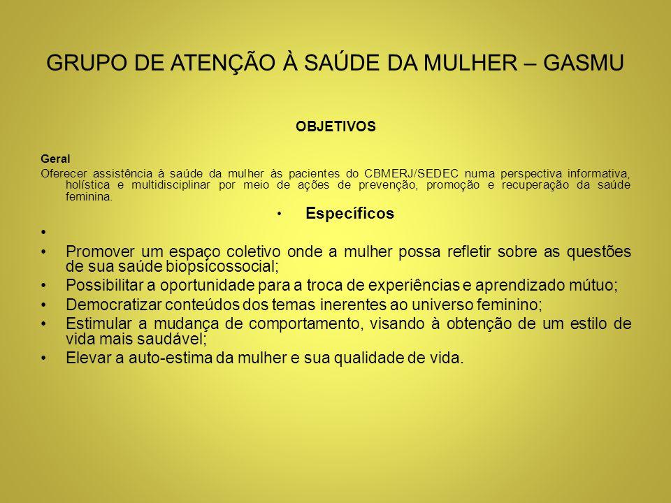 GRUPO DE ATENÇÃO À SAÚDE DA MULHER – GASMU ESPECIALIDADES ENVOLVIDAS Serviço Social Ginecologia Demais especialidades, conforme as necessidades do Projeto.