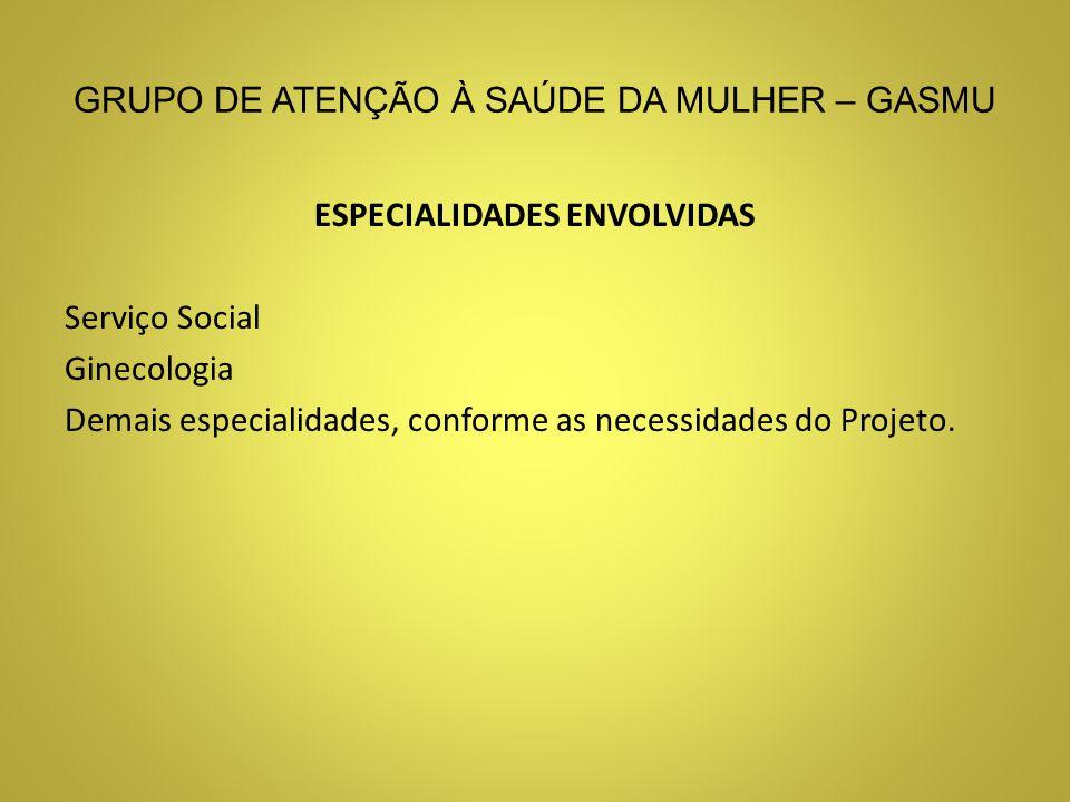 GRUPO DE ATENÇÃO À SAÚDE DA MULHER – GASMU ESPECIALIDADES ENVOLVIDAS Serviço Social Ginecologia Demais especialidades, conforme as necessidades do Pro