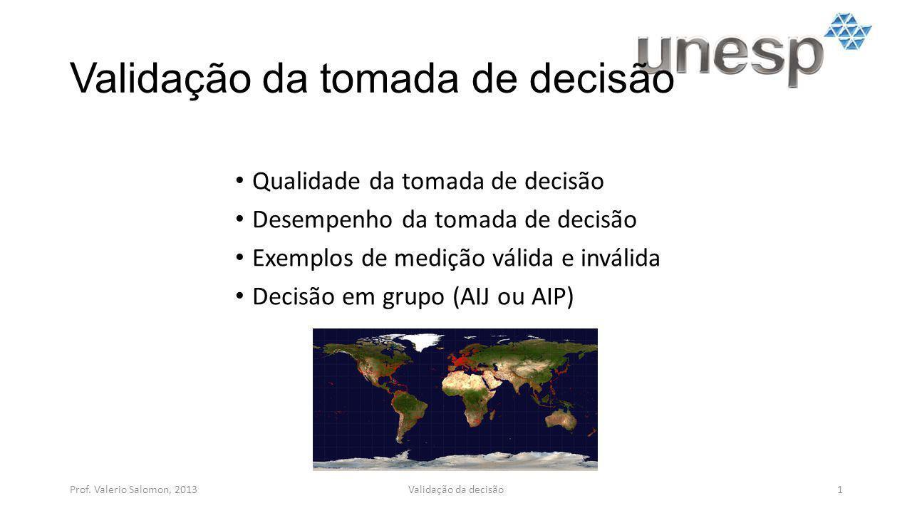 Validação da tomada de decisão Qualidade da tomada de decisão Desempenho da tomada de decisão Exemplos de medição válida e inválida Decisão em grupo (AIJ ou AIP) Prof.
