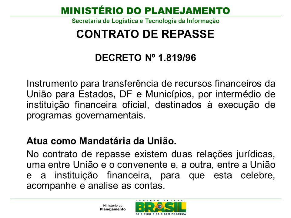 MINISTÉRIO DO PLANEJAMENTO Secretaria de Logística e Tecnologia da Informação DECRETO Nº 1.819/96 Instrumento para transferência de recursos financeir