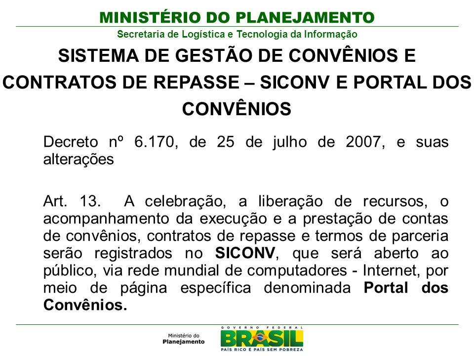 MINISTÉRIO DO PLANEJAMENTO Secretaria de Logística e Tecnologia da Informação Decreto nº 6.170, de 25 de julho de 2007, e suas alterações Art. 13. A c
