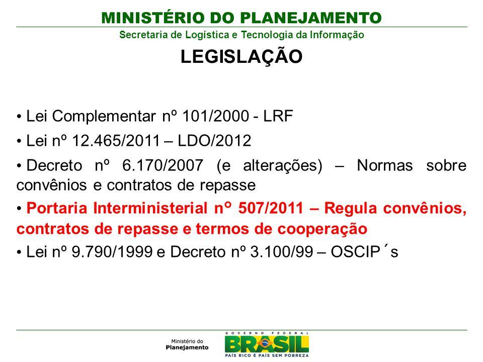 MINISTÉRIO DO PLANEJAMENTO Secretaria de Logística e Tecnologia da Informação LEGISLAÇÃO Lei Complementar nº 101/2000 - LRF Lei nº 12.465/2011 – LDO/2