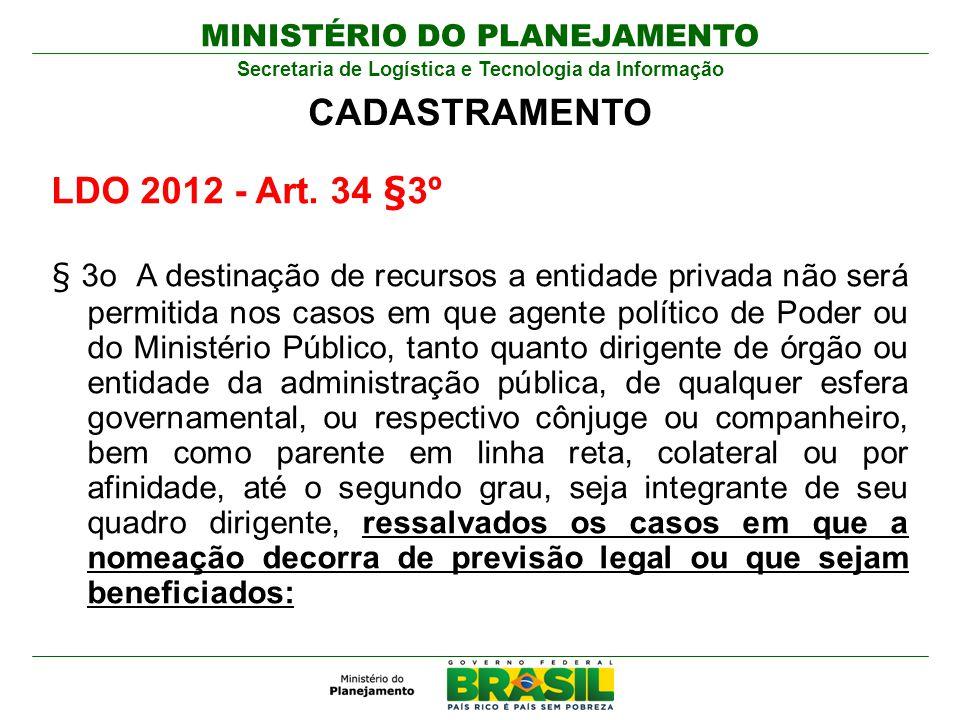 MINISTÉRIO DO PLANEJAMENTO Secretaria de Logística e Tecnologia da Informação LDO 2012 - Art. 34 §3º § 3o A destinação de recursos a entidade privada