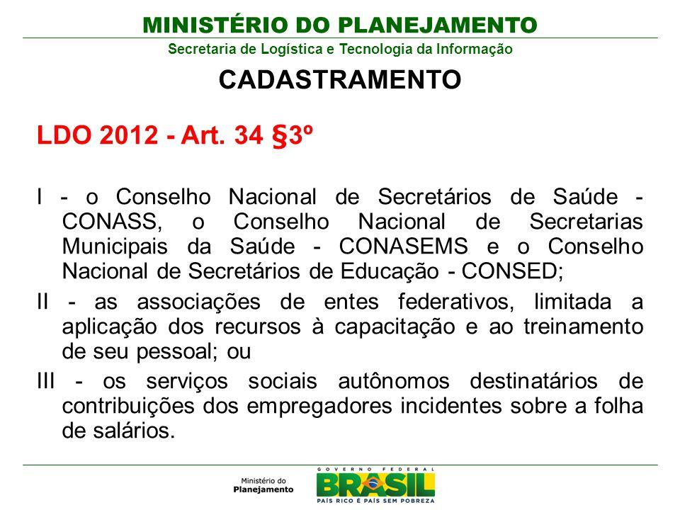 MINISTÉRIO DO PLANEJAMENTO Secretaria de Logística e Tecnologia da Informação LDO 2012 - Art. 34 §3º I - o Conselho Nacional de Secretários de Saúde -