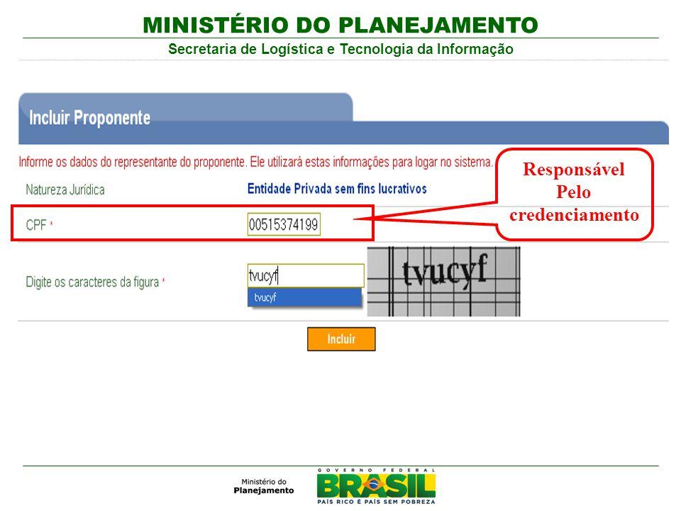 MINISTÉRIO DO PLANEJAMENTO Secretaria de Logística e Tecnologia da Informação Responsável Pelo credenciamento