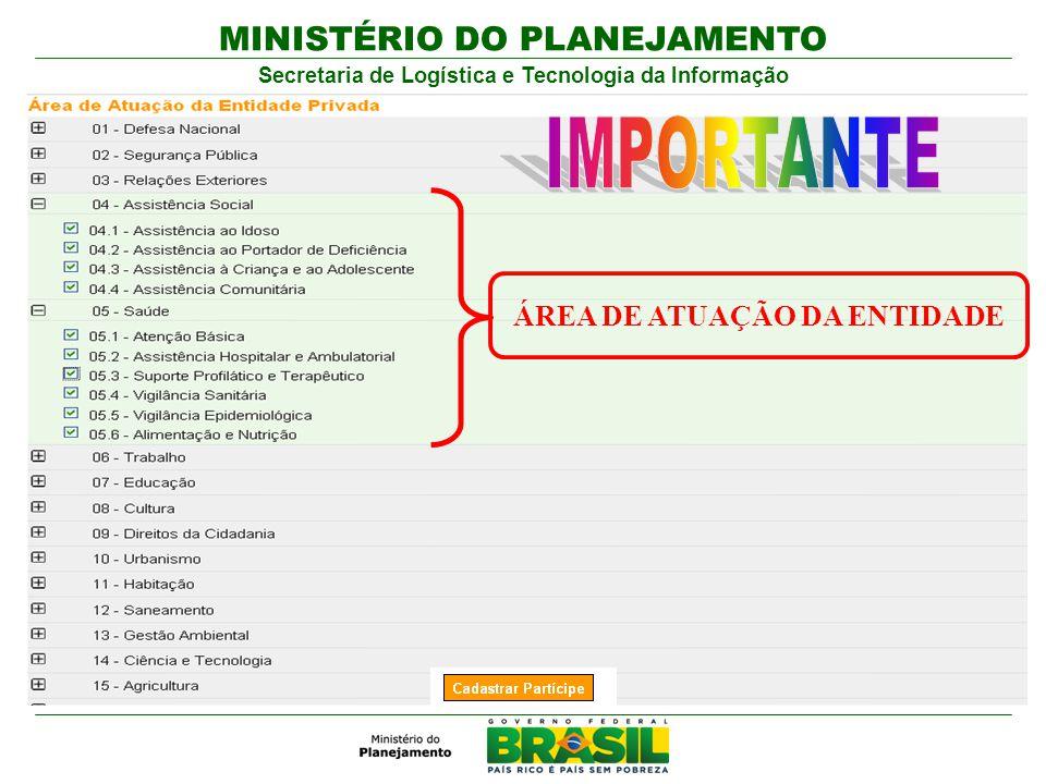 MINISTÉRIO DO PLANEJAMENTO Secretaria de Logística e Tecnologia da Informação ÁREA DE ATUAÇÃO DA ENTIDADE