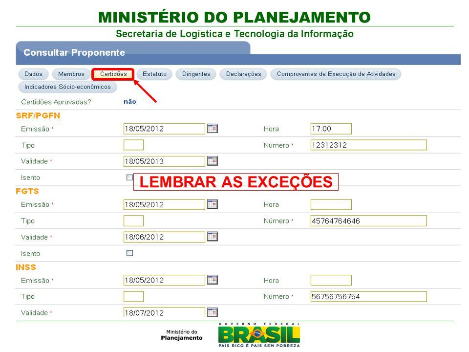 MINISTÉRIO DO PLANEJAMENTO Secretaria de Logística e Tecnologia da Informação LEMBRAR AS EXCEÇÕES