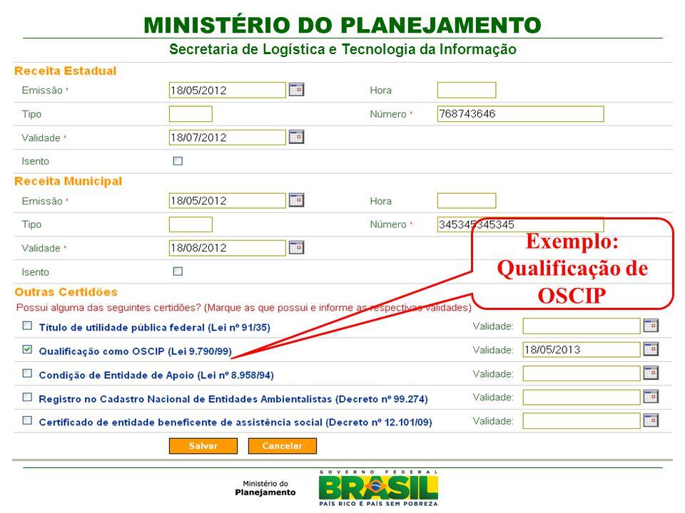 MINISTÉRIO DO PLANEJAMENTO Secretaria de Logística e Tecnologia da Informação Exemplo: Qualificação de OSCIP