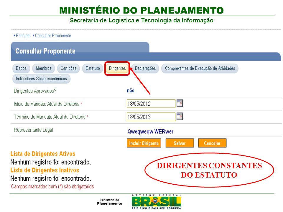 MINISTÉRIO DO PLANEJAMENTO Secretaria de Logística e Tecnologia da Informação DIRIGENTES CONSTANTES DO ESTATUTO