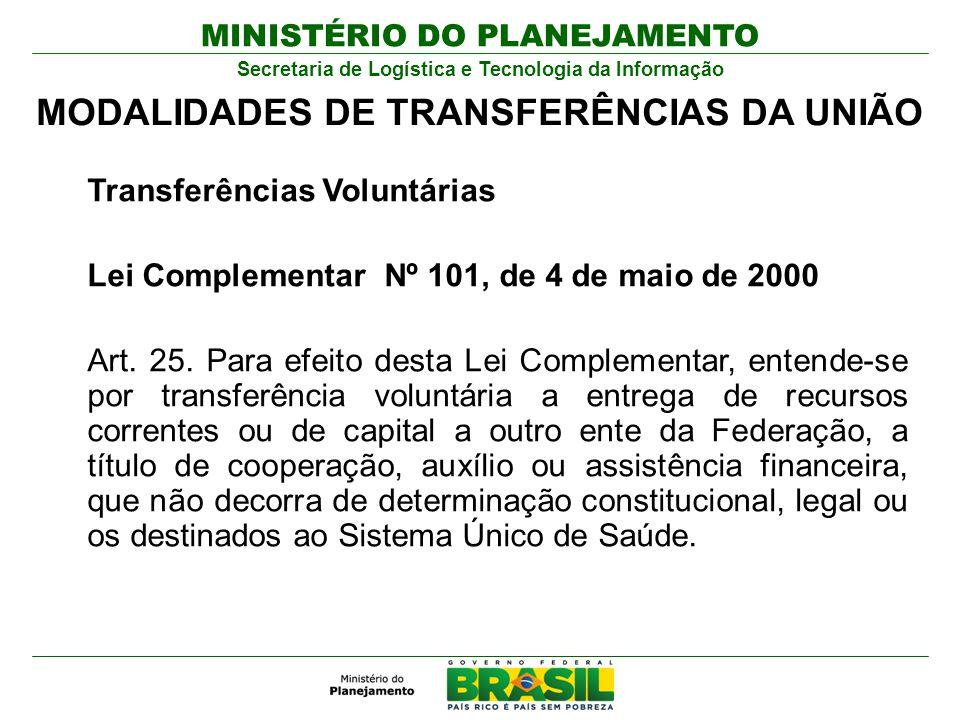 MINISTÉRIO DO PLANEJAMENTO Secretaria de Logística e Tecnologia da Informação Transferências Voluntárias Lei Complementar Nº 101, de 4 de maio de 2000