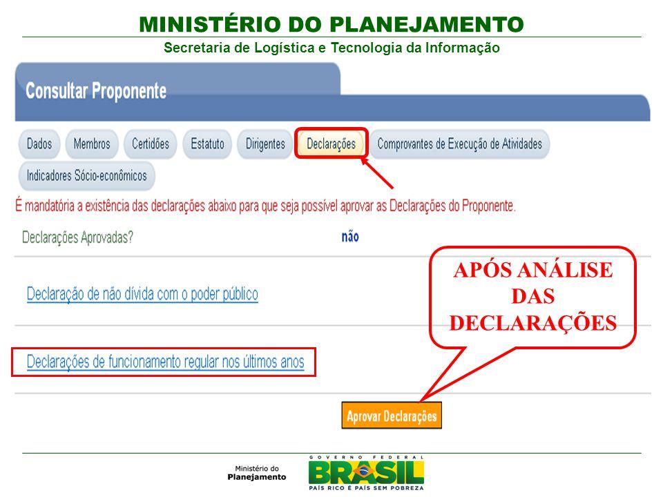 MINISTÉRIO DO PLANEJAMENTO Secretaria de Logística e Tecnologia da Informação APÓS ANÁLISE DAS DECLARAÇÕES