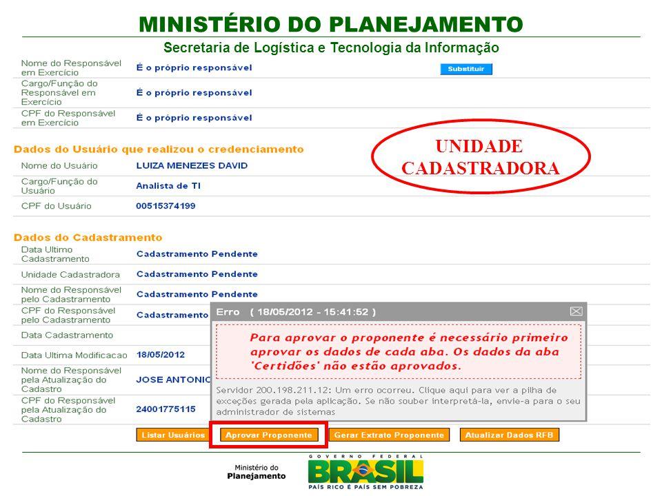 MINISTÉRIO DO PLANEJAMENTO Secretaria de Logística e Tecnologia da Informação UNIDADE CADASTRADORA