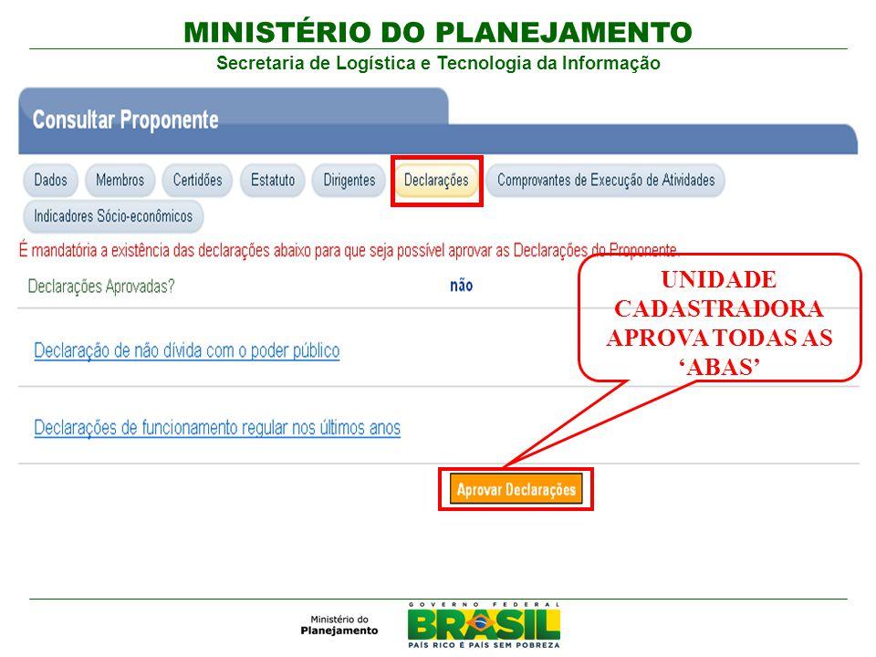 MINISTÉRIO DO PLANEJAMENTO Secretaria de Logística e Tecnologia da Informação UNIDADE CADASTRADORA APROVA TODAS AS ABAS