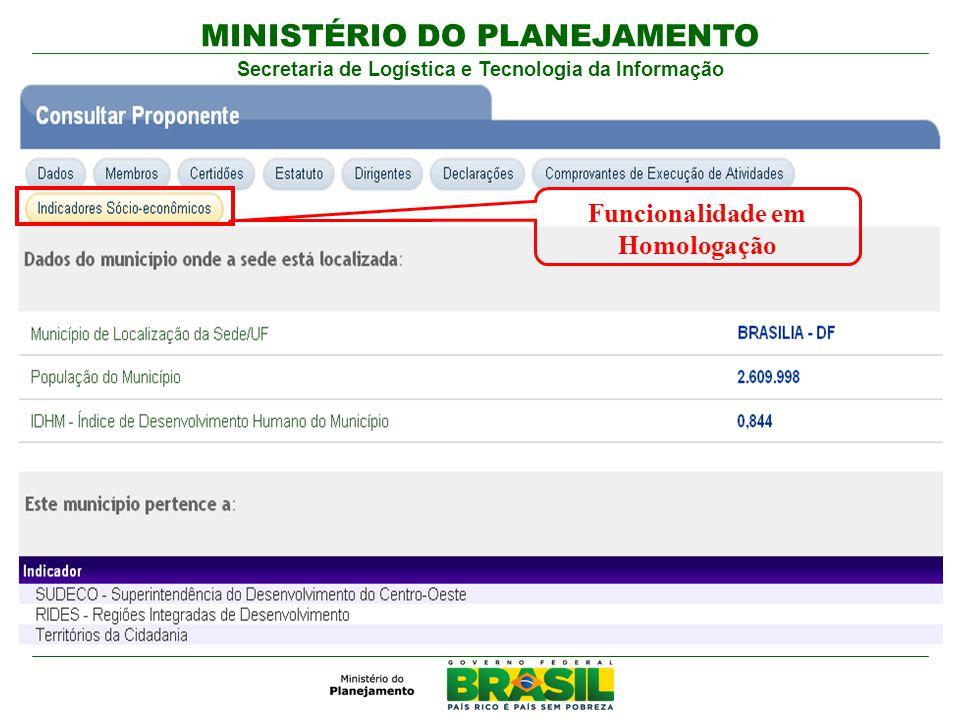 MINISTÉRIO DO PLANEJAMENTO Secretaria de Logística e Tecnologia da Informação Funcionalidade em Homologação
