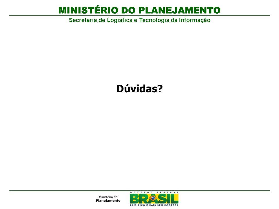 MINISTÉRIO DO PLANEJAMENTO Secretaria de Logística e Tecnologia da Informação MINISTÉRIO DO PLANEJAMENTO Dúvidas?