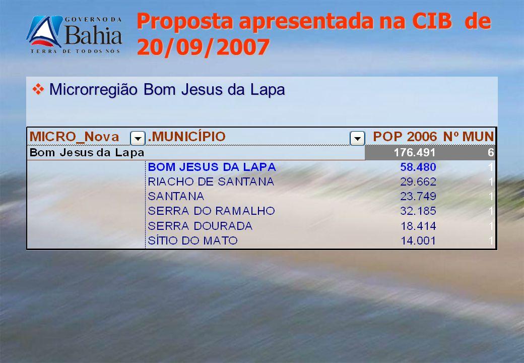 Microrregião Bom Jesus da Lapa Microrregião Bom Jesus da Lapa Proposta apresentada na CIB de 20/09/2007