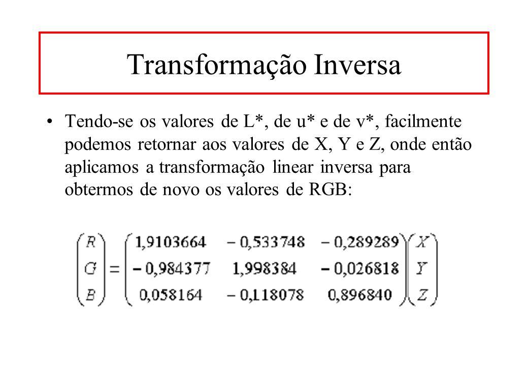Transformação Inversa Tendo-se os valores de L*, de u* e de v*, facilmente podemos retornar aos valores de X, Y e Z, onde então aplicamos a transformação linear inversa para obtermos de novo os valores de RGB: