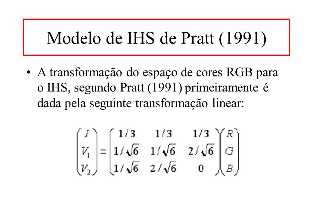 Modelo de IHS de Pratt (1991) A transformação do espaço de cores RGB para o IHS, segundo Pratt (1991) primeiramente é dada pela seguinte transformação linear: