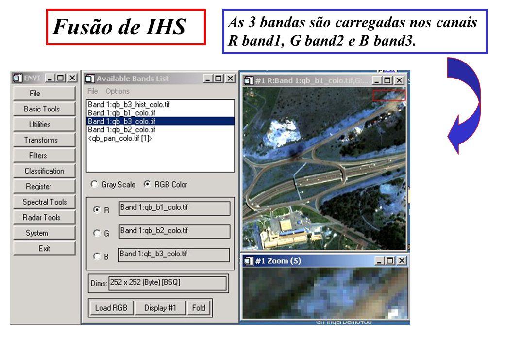 Fusão de IHS As 3 bandas são carregadas nos canais R band1, G band2 e B band3.