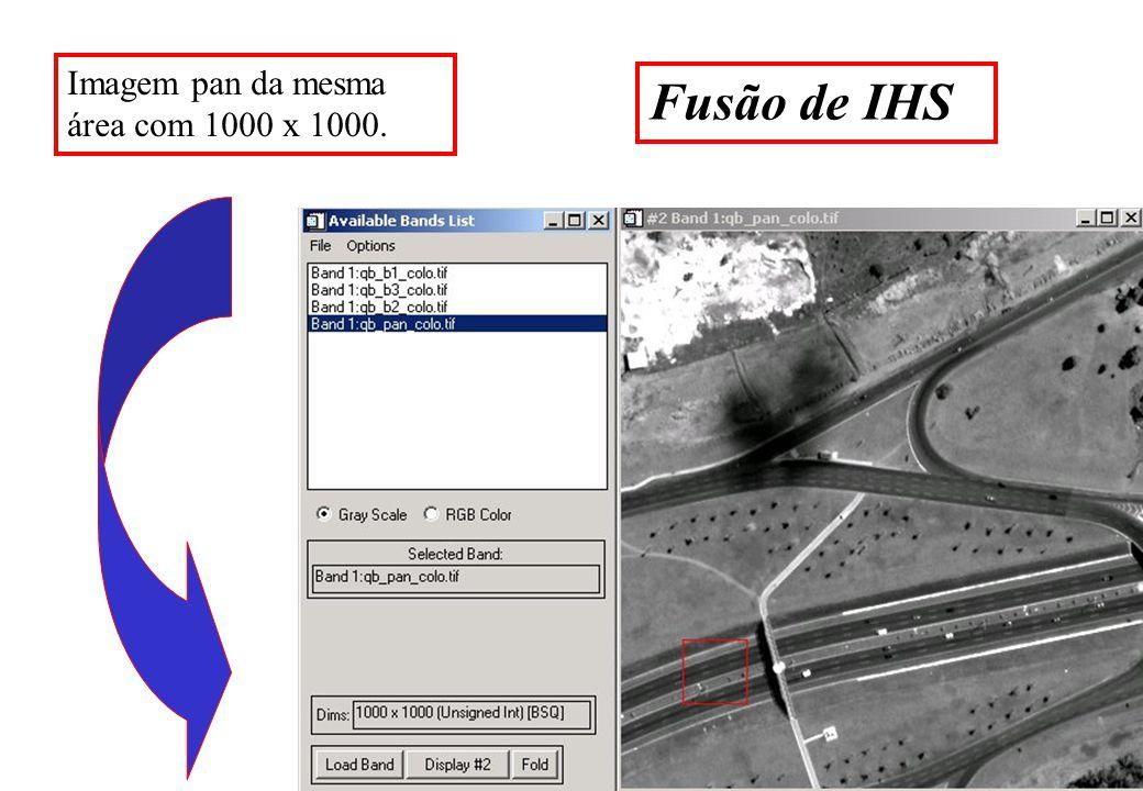 Fusão de IHS Imagem pan da mesma área com 1000 x 1000.