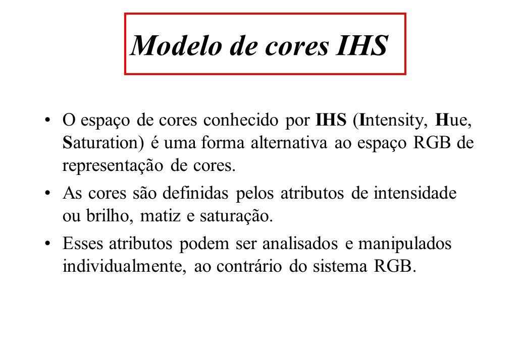 O espaço de cores conhecido por IHS (Intensity, Hue, Saturation) é uma forma alternativa ao espaço RGB de representação de cores.