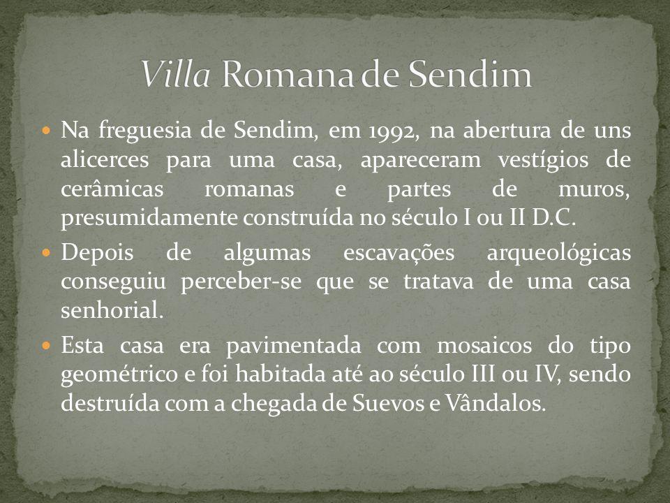 Na freguesia de Sendim, em 1992, na abertura de uns alicerces para uma casa, apareceram vestígios de cerâmicas romanas e partes de muros, presumidamen