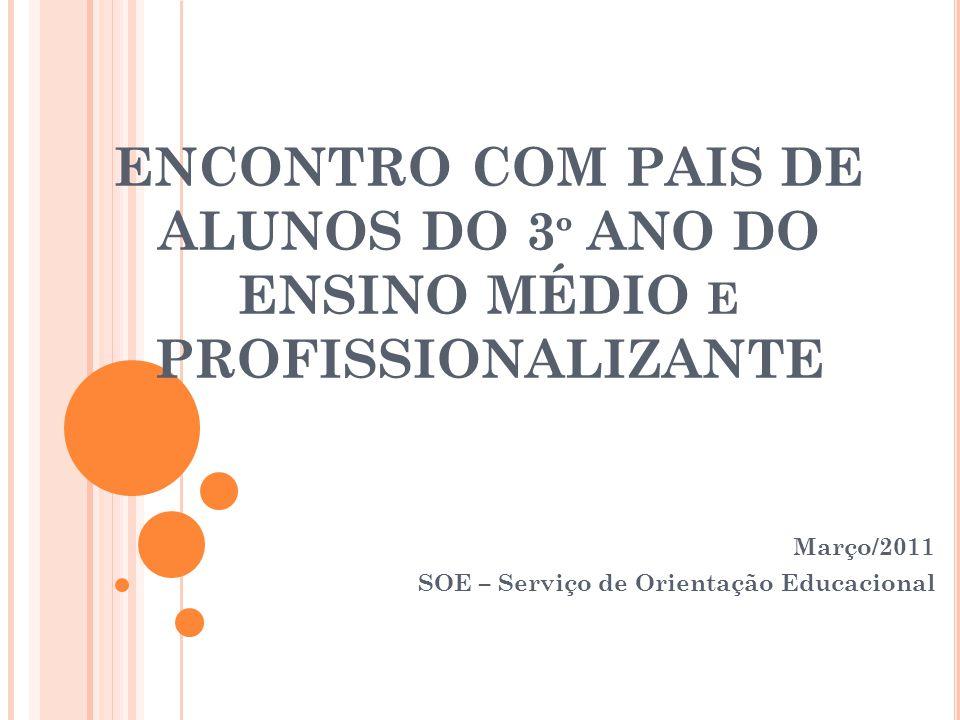 ENCONTRO COM PAIS DE ALUNOS DO 3 º ANO DO ENSINO MÉDIO E PROFISSIONALIZANTE Março/2011 SOE – Serviço de Orientação Educacional