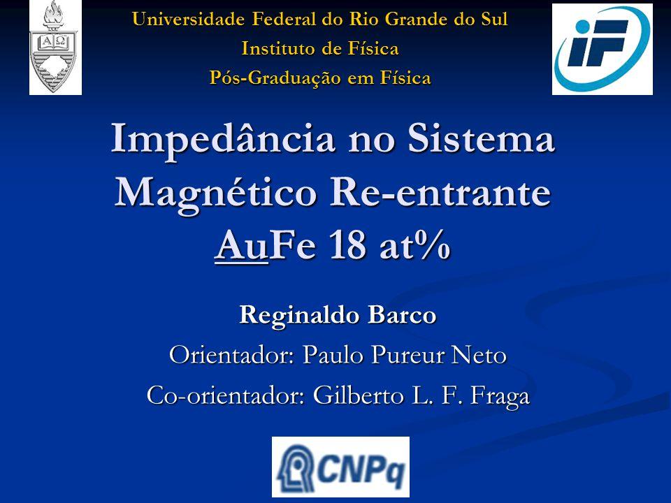 Impedância no Sistema Magnético Re-entrante AuFe 18 at% OBJETIVO Estudar as propriedades magnéticas do sistema AuFe 18 at% Estudar as propriedades magnéticas do sistema AuFe 18 at% UFRGS - Universidade Federal do Rio Grande do Sul Instituto de Física – Pós-Graduação em Física
