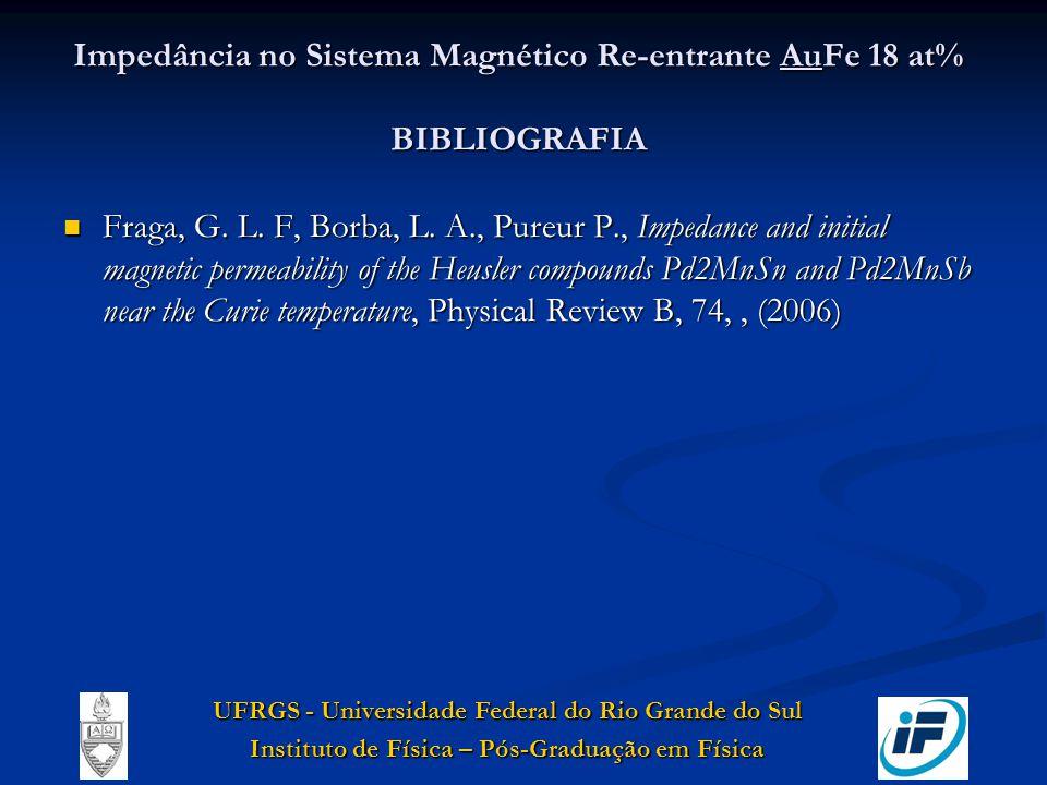 Impedância no Sistema Magnético Re-entrante AuFe 18 at% BIBLIOGRAFIA Fraga, G. L. F, Borba, L. A., Pureur P., Impedance and initial magnetic permeabil