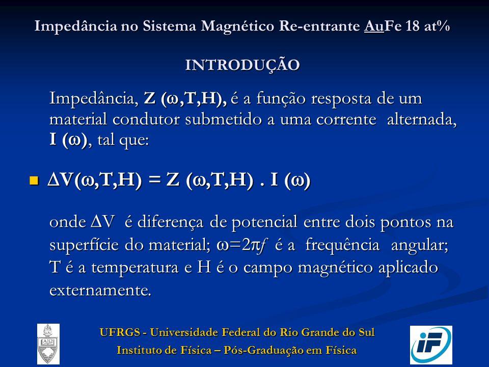 Impedância no Sistema Magnético Re-entrante AuFe 18 at% INTRODUÇÃO Impedância, Z (,T,H), é a função resposta de um material condutor submetido a uma c