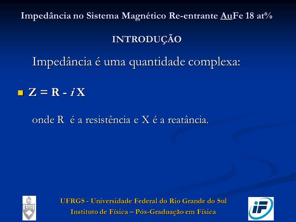 Impedância no Sistema Magnético Re-entrante AuFe 18 at% INTRODUÇÃO Impedância é uma quantidade complexa: Z = R - i X Z = R - i X onde R é a resistênci