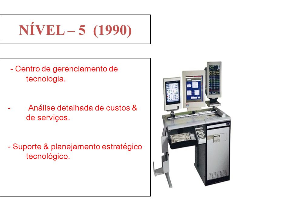 - Centro de gerenciamento de tecnologia. - Análise detalhada de custos & de serviços. - Suporte & planejamento estratégico tecnológico. NÍVEL – 5 (199
