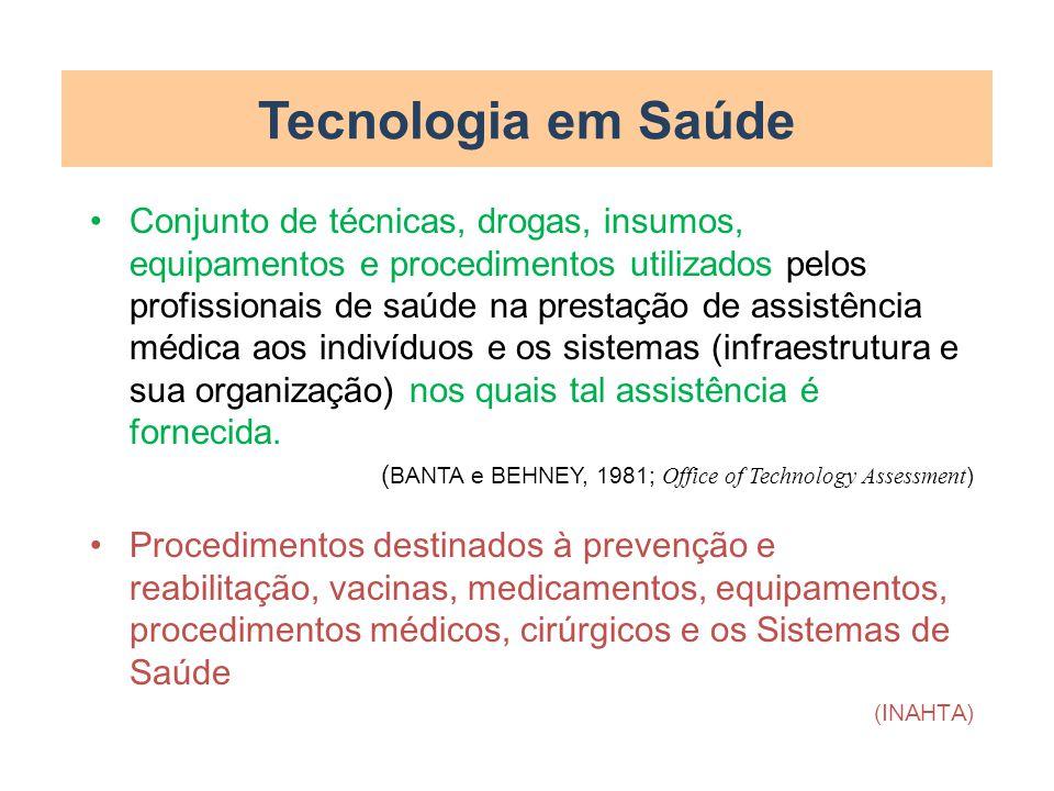 Tecnologia em Saúde Conjunto de técnicas, drogas, insumos, equipamentos e procedimentos utilizados pelos profissionais de saúde na prestação de assist