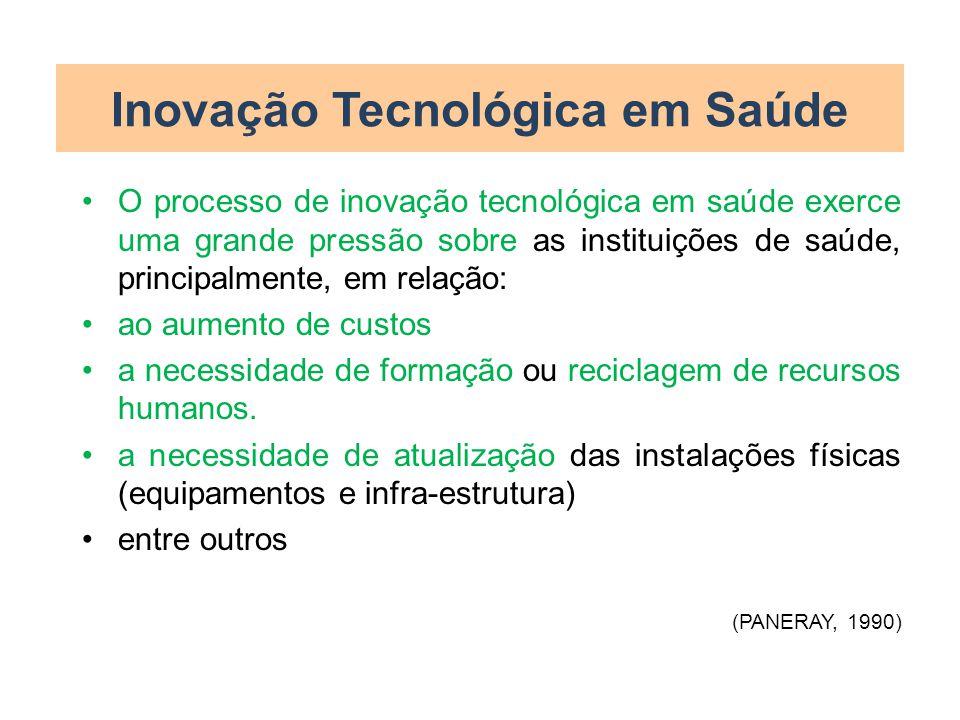 Inovação Tecnológica em Saúde O processo de inovação tecnológica em saúde exerce uma grande pressão sobre as instituições de saúde, principalmente, em