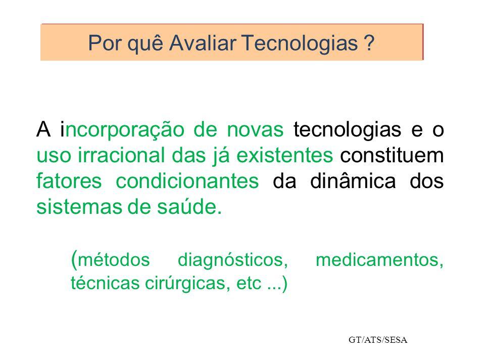 Por quê Avaliar Tecnologias ? A incorporação de novas tecnologias e o uso irracional das já existentes constituem fatores condicionantes da dinâmica d