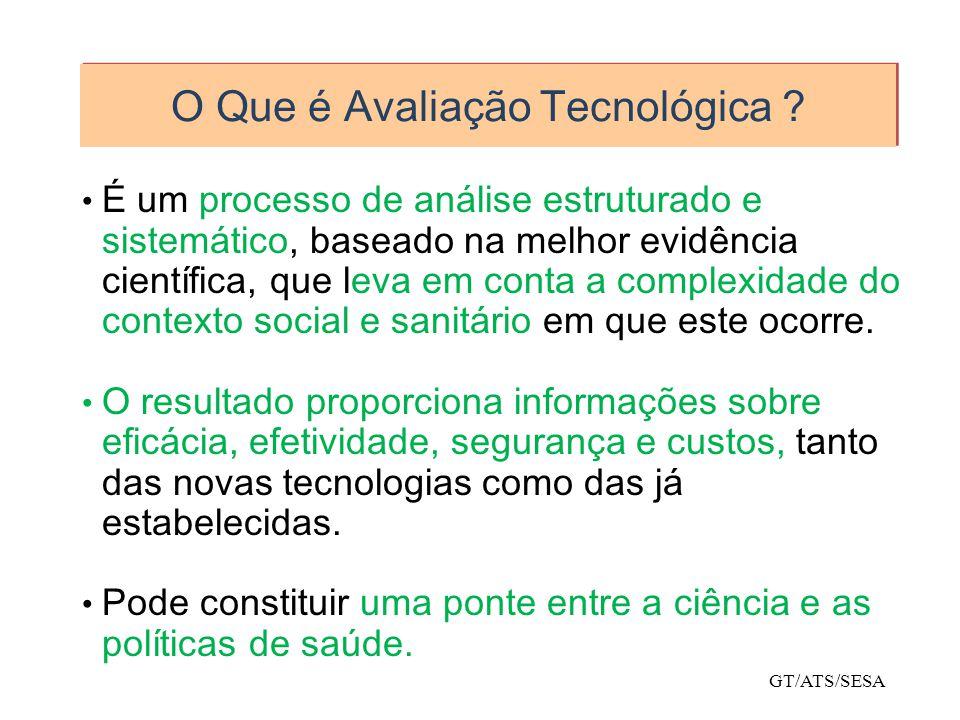 O Que é Avaliação Tecnológica ? É um processo de análise estruturado e sistemático, baseado na melhor evidência científica, que leva em conta a comple