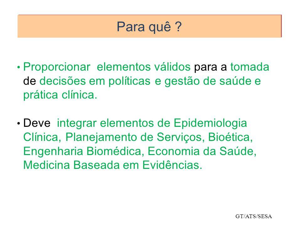 Para quê ? Proporcionar elementos válidos para a tomada de decisões em políticas e gestão de saúde e prática clínica. Deve integrar elementos de Epide