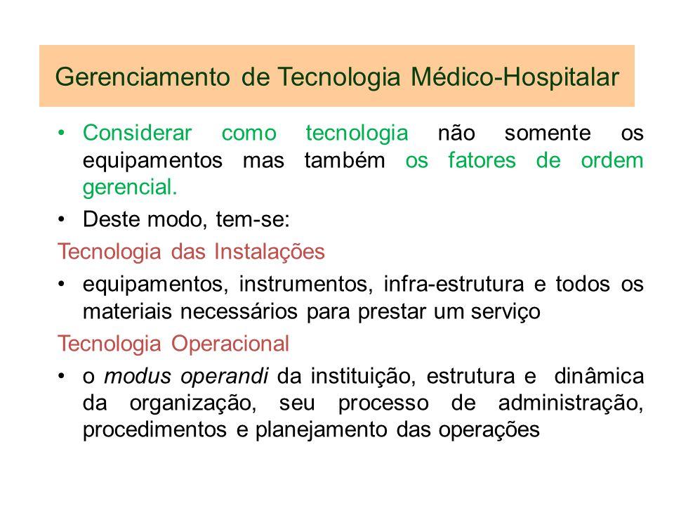 Gerenciamento de Tecnologia Médico-Hospitalar Considerar como tecnologia não somente os equipamentos mas também os fatores de ordem gerencial. Deste m