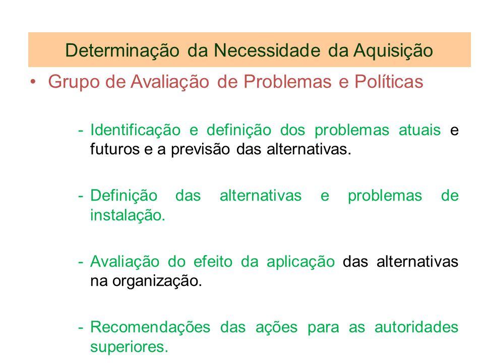 Determinação da Necessidade da Aquisição Grupo de Avaliação de Problemas e Políticas -Identificação e definição dos problemas atuais e futuros e a pre