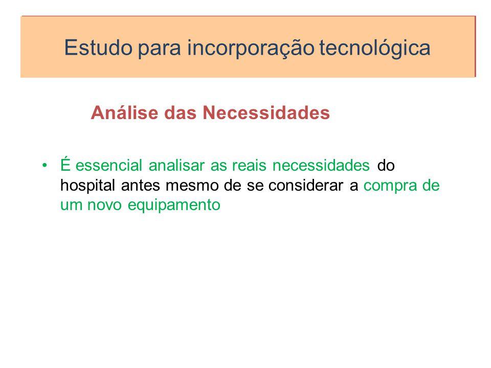 Estudo para incorporação tecnológica Análise das Necessidades É essencial analisar as reais necessidades do hospital antes mesmo de se considerar a co