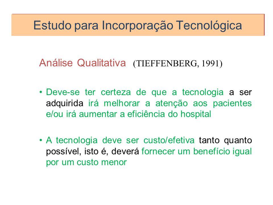 Estudo para Incorporação Tecnológica Análise Qualitativa (TIEFFENBERG, 1991) Deve-se ter certeza de que a tecnologia a ser adquirida irá melhorar a at