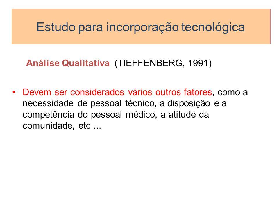 Estudo para incorporação tecnológica Análise Qualitativa (TIEFFENBERG, 1991) Devem ser considerados vários outros fatores, como a necessidade de pesso