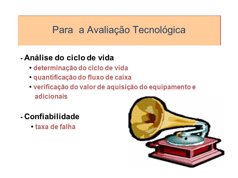 Para a Avaliação Tecnológica - Análise do ciclo de vida determinação do ciclo de vida quantificação do fluxo de caixa verificação do valor de aquisiçã